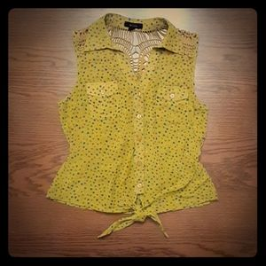 Mine Crochet Sleeveless Tie Mustard Blouse S